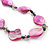 Long Magenta Shell & Metal Bead Necklace - 110cm Length - view 7