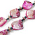 Long Magenta Shell & Metal Bead Necklace - 110cm Length - view 5