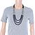 3 Strand Round Black Ceramic & Silver Tone Square Bead Necklace - 74cm Length - view 4