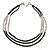 3 Strand Round Black Ceramic & Silver Tone Square Bead Necklace - 74cm Length - view 2