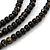 3 Strand Round Black Ceramic & Silver Tone Square Bead Necklace - 74cm Length - view 3
