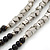 3 Strand Round Black Ceramic & Silver Tone Square Bead Necklace - 74cm Length - view 5