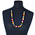 Multicoloured Resin 'Button' Beaded Black Cotton Cord Necklace - 76cm Length - view 2