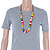 Multicoloured Resin 'Button' Beaded Black Cotton Cord Necklace - 76cm Length - view 3