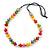Multicoloured Resin 'Button' Beaded Black Cotton Cord Necklace - 76cm Length