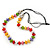 Multicoloured Resin 'Button' Beaded Black Cotton Cord Necklace - 76cm Length - view 8