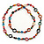 Long Multicoloured Bone & Wood Beaded Necklace - 120cm Length - view 2