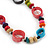 Long Multicoloured Bone & Wood Beaded Necklace - 120cm Length - view 3