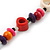 Long Multicoloured Bone & Wood Beaded Necklace - 120cm Length - view 8