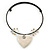 Antique White Ceramic 'Heart' Pendant Wired Choker Necklace - Adjustable - view 2