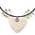 Antique White Ceramic 'Heart' Pendant Wired Choker Necklace - Adjustable - view 4