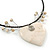 Antique White Ceramic 'Heart' Pendant Wired Choker Necklace - Adjustable - view 5