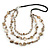 Antique White Shell Nugget With Silver Bead Cotton Cord Necklace - 80cm Length