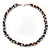 Beige/ Brown/ White Ceramic Bead Twisted Necklace In Silver Tone - 52cm Length - view 4