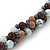Beige/ Brown/ White Ceramic Bead Twisted Necklace In Silver Tone - 52cm Length - view 5
