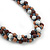 Beige/ Brown/ White Ceramic Bead Twisted Necklace In Silver Tone - 52cm Length - view 3