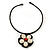Antique White Ceramic 'Flower' Pendant Wired Choker Necklace - Adjustable - view 2
