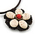 Antique White Ceramic 'Flower' Pendant Wired Choker Necklace - Adjustable - view 4