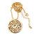 Gold Tone Audrey Hepburn Inscription Round Medallion Pendant and Chain - 41cm Length/ 7cm Extension - view 3