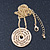 Gold Tone Audrey Hepburn Inscription Round Medallion Pendant and Chain - 41cm Length/ 7cm Extension - view 4