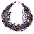 Chunky Multistrand Glass & Ceramic Bead Necklace (Lavender/Purple/Black) - 44cm Length