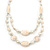 Long Antique White Ceramic, Simulated Pearl Glass, Metal Bead Necklace In Rhodium Plating - 72cm Length - view 3
