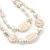 Long Antique White Ceramic, Simulated Pearl Glass, Metal Bead Necklace In Rhodium Plating - 72cm Length - view 4