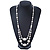 Long Antique White Ceramic, Simulated Pearl Glass, Metal Bead Necklace In Rhodium Plating - 72cm Length - view 2