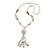 Long Antique White Ceramic & Glass Stones Tassel Necklace - 78cm Length/ 14cm Tassel - view 2