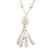 Long Antique White Ceramic & Glass Stones Tassel Necklace - 78cm Length/ 14cm Tassel - view 3