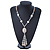Long Antique White Ceramic & Glass Stones Tassel Necklace - 78cm Length/ 14cm Tassel