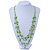 Multistrand Lime Green Wood Beaded Cotton Cord Necklace - 80cm Length - view 7