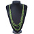 Multistrand Lime Green Wood Beaded Cotton Cord Necklace - 80cm Length - view 2