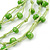 Multistrand Lime Green Wood Beaded Cotton Cord Necklace - 80cm Length - view 3
