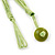 Multistrand Lime Green Wood Beaded Cotton Cord Necklace - 80cm Length - view 5