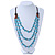 3 Strand Light Blue Resin & Brown Wood Bead Cotton Cord Necklace - 82cm Length - view 2