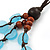 3 Strand Light Blue Resin & Brown Wood Bead Cotton Cord Necklace - 82cm Length - view 6