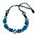 Unique Turquoise Blue Coloured Bone Bead Black Cotton Cord Necklace - 66cm Length