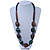 Chunky Brown/Dark Green Wooden Bead Necklace - 80cm Length - view 2