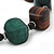Chunky Brown/Dark Green Wooden Bead Necklace - 80cm Length - view 3
