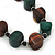 Chunky Brown/Dark Green Wooden Bead Necklace - 80cm Length - view 4