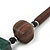 Chunky Brown/Dark Green Wooden Bead Necklace - 80cm Length - view 6