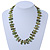 Olive Green Shell Nugget & Small Glass Bead Necklace In Silver Tone - 52cm Length/ 4cm Extension - view 2