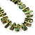 Olive Green Shell Nugget & Small Glass Bead Necklace In Silver Tone - 52cm Length/ 4cm Extension - view 3