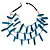 3 Strand Bone Nugget & Glass Bead Layered Necklace (Teal Blue) - 60cm Length - view 2