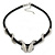 Austrian Crystal 'Double Snake' Black Leather Cord Necklace In Rhodium Plating - 46cm Length/ 8cm Extension - view 2