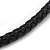 Austrian Crystal 'Double Snake' Black Leather Cord Necklace In Rhodium Plating - 46cm Length/ 8cm Extension - view 8