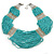 Chunky Turquoise & Transparent Coloured Glass Bead Bib Necklace In Silver Plating - 52cm Length/ 9cm Extension - view 2