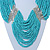 Chunky Turquoise & Transparent Coloured Glass Bead Bib Necklace In Silver Plating - 52cm Length/ 9cm Extension - view 7
