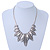 Ethnic Hammered Leaf Necklace In Burn Silver Metal - 42cm Length/ 5cm Extension - view 10